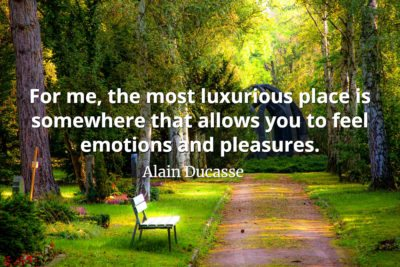 Alain Ducasse Quote For me, the most luxurious place is somewhere that allows you to feel emotions and pleasures