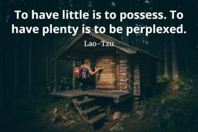 lao-tzu quote To have little is to possess. To have plenty is to be perplexed