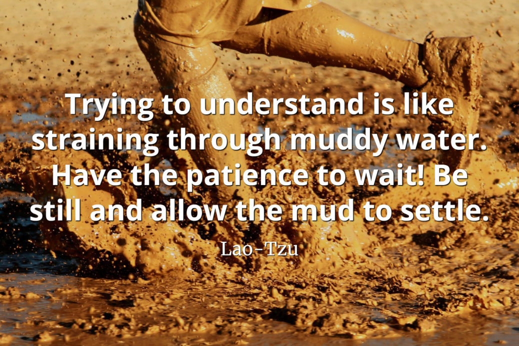 lao-tzu quote Trying to understand is like straining through muddy water. Have the patience to wait
