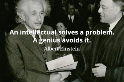 Albert Einstein quote An intellectual solves a problem. A genius avoids it.