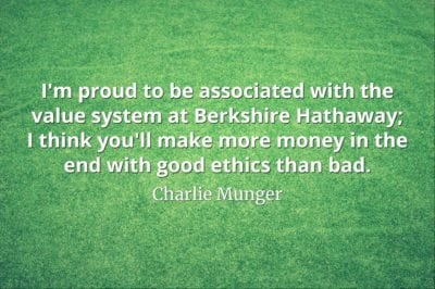 Charlie Munger quote I'm proud to be associated with the value system at Berkshire Hathaway