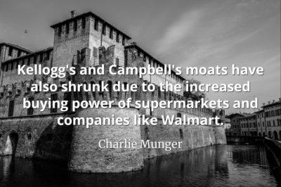 Charlie Munger quote Kellogg's and Campbell's moats have also shrunk due to the increased buying power of supermarkets and companies like Walmart
