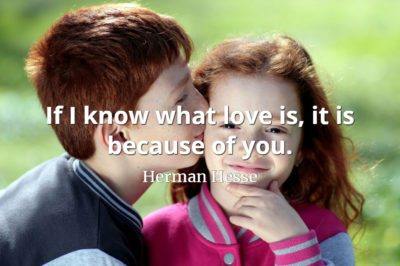Herman Hesse quote If I know what love is, it is because of you.
