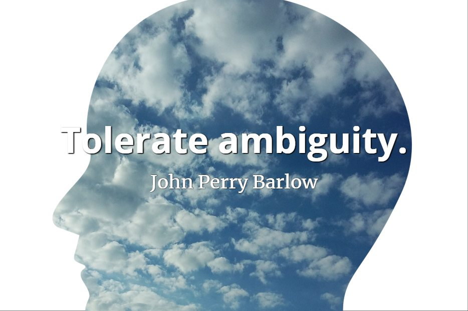 John Perry Barlow quote Tolerate ambiguity