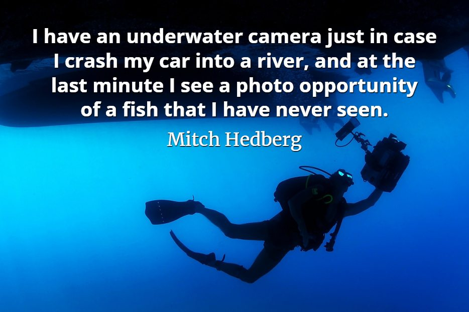 Mitch Hedberg quote I have an underwater camera just in case I crash my car into a river