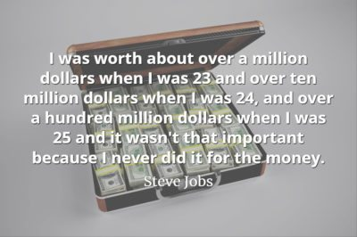 Steve Jobs quote I never did it for the money