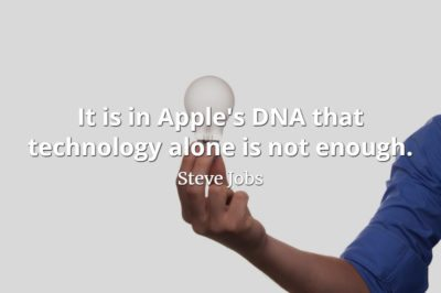 Steve Jobs quote It is in Apple's DNA that technology alone is not enough