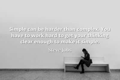Steve Jobs Quote: Simple can be harder than complex. You have to work hard to get your thinking clear enough to make it simple.