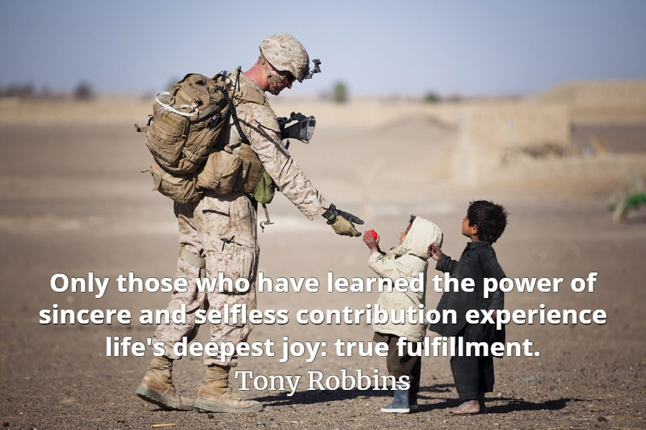 Tony Robbins quote Only those who have learned the power of sincere and selfless contribution experience life's deepest joy true fulfillment.