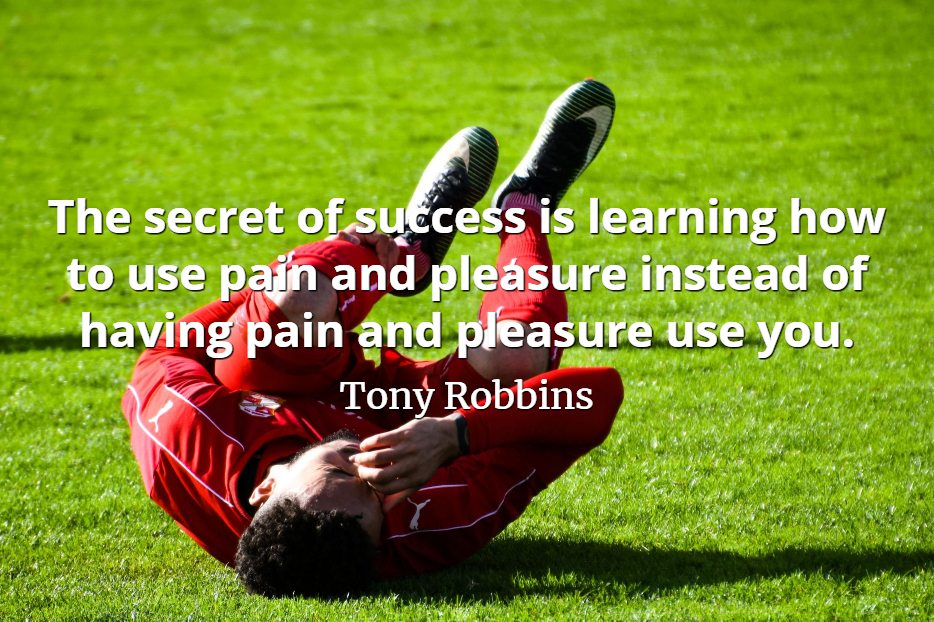 Tony Robbins quote The secret of success is learning how to use pain and pleasure instead of having pain and pleasure use you.